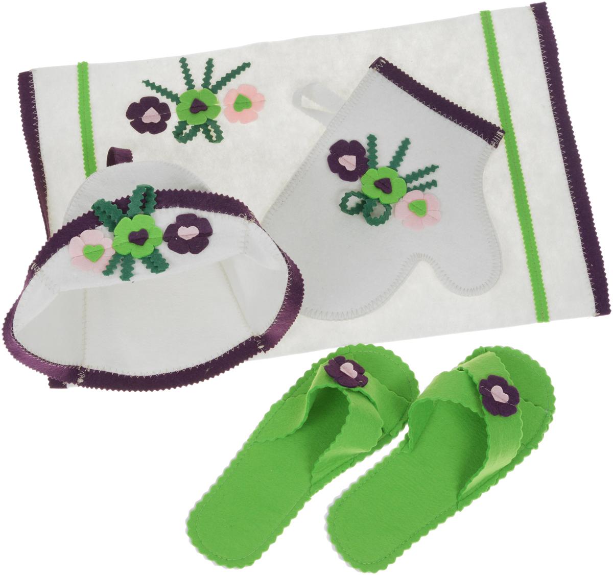 Набор для бани и сауны Доктор баня Весна, цвет: белый, зеленый, 4 предмета часы песочные для бани и сауны доктор баня 10 минут