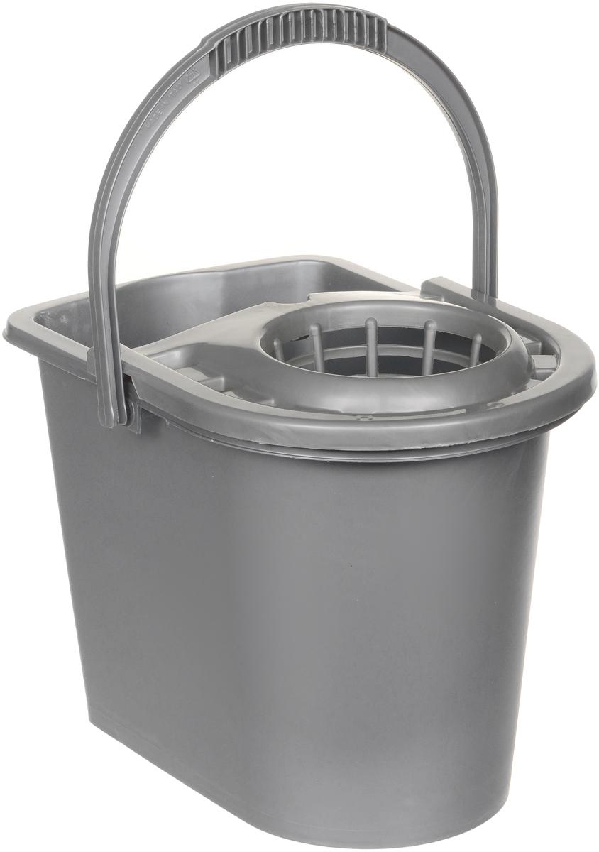 Ведро для уборки Tuttoscope, овальное, с отжимом, цвет: серый, 15 лTS65000Ведро для уборки Tuttoscope, овальное, с отжимом, цвет: серый, 15 л