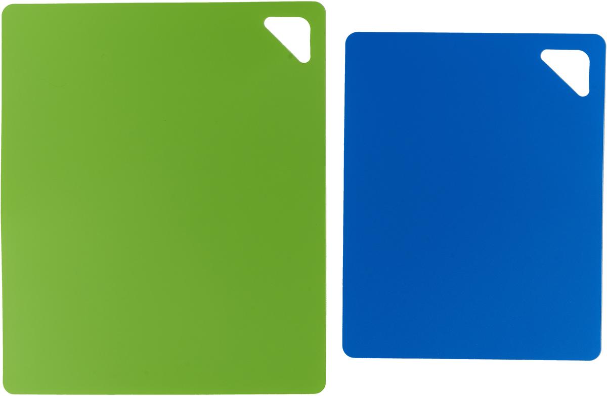 """Разделочная доска """"Домашний Сундук"""", гибкая, цвет: зеленый, синий, 2 шт"""