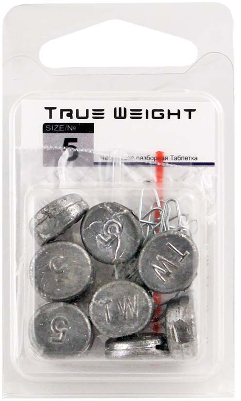 Груз True Weight, чебурашка разборная, таблетка, 5 г, 10 шт груз чебурашка w с петлями 7 гр