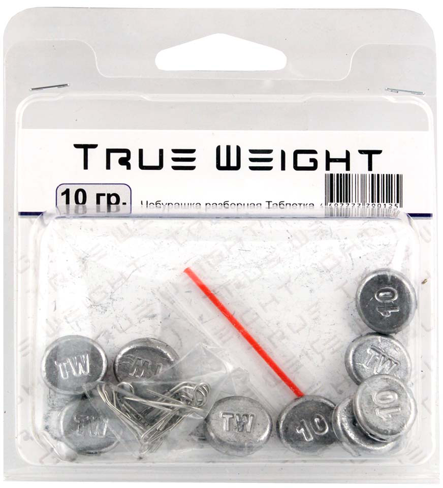 Груз True Weight, чебурашка разборная, таблетка, 10 г, 10 шт груз чебурашка w с петлями 7 гр