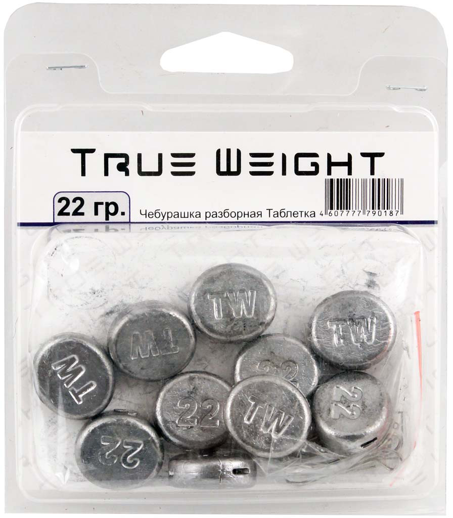 Груз True Weight, чебурашка разборная, таблетка, 22 г, 10 шт груз чебурашка w с петлями 7 гр