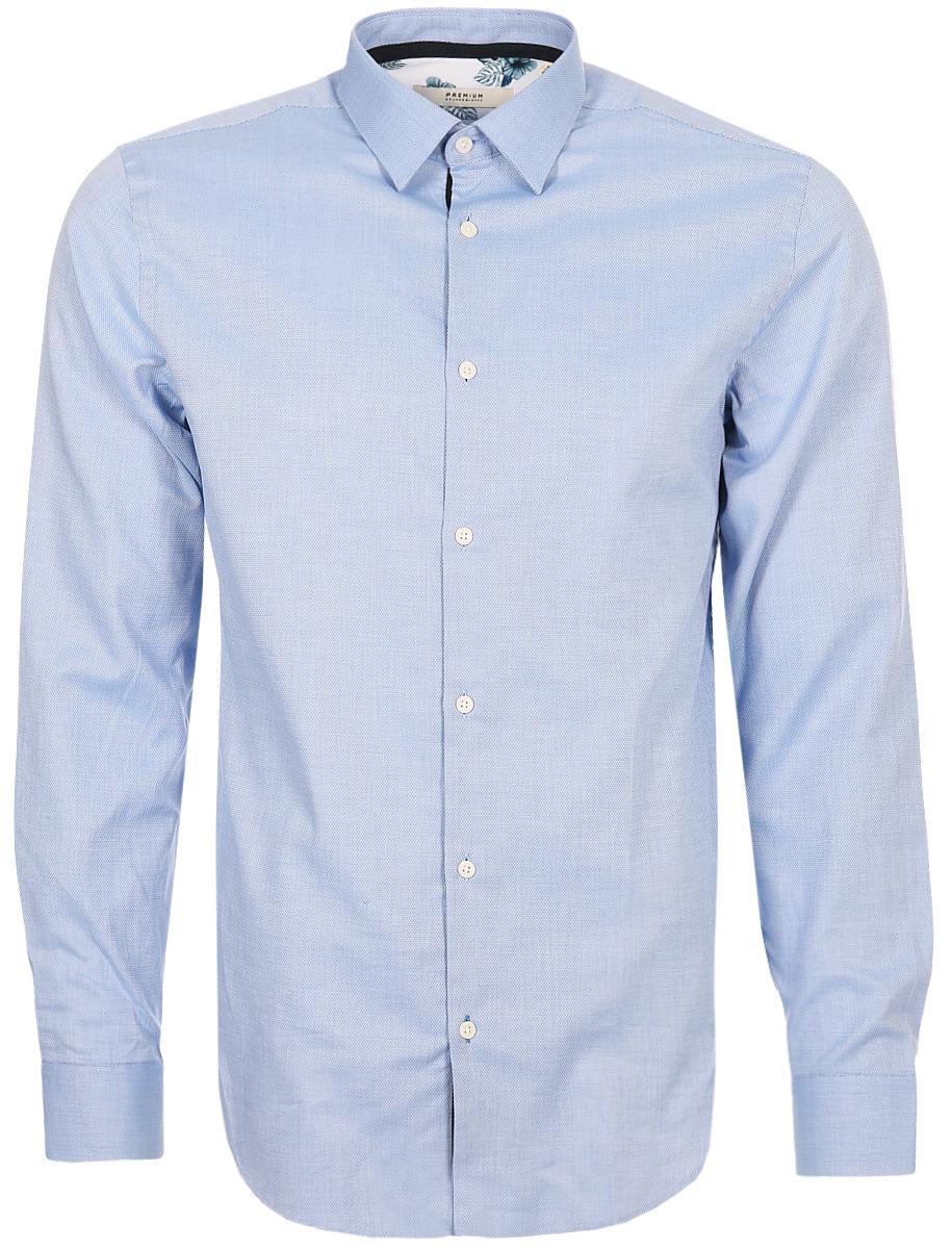 Рубашка мужская Jack & Jones, цвет: синий. 12136320_Cashmere Blue. Размер XXL (54)