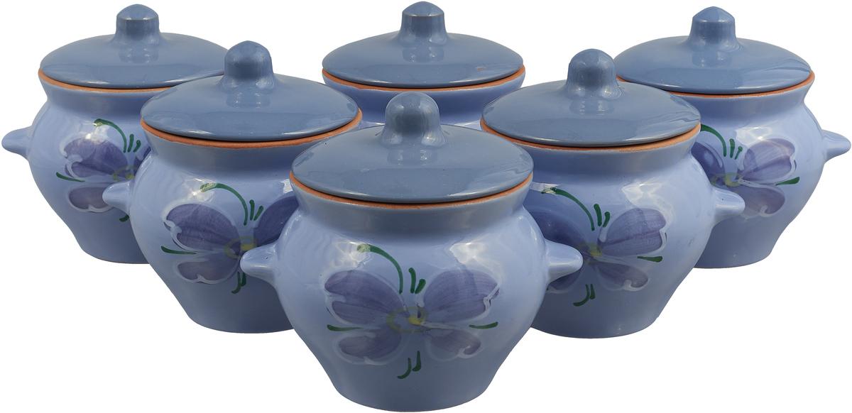 Набор горшочков для запекания Борисовская керамика Стандарт, с крышками, цвет: сиреневый, 500 мл, 6 шт набор форм для заливного home queen с крышками 3 шт