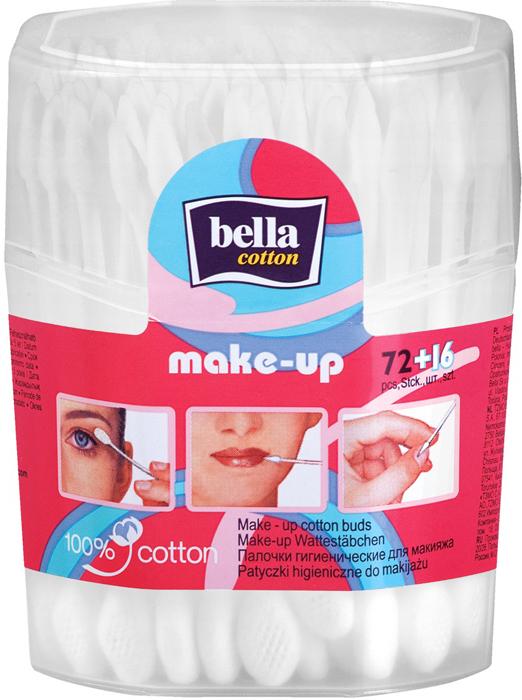 Bella Ватные палочки для макияжа Make-Up, 72+16 шт maneki палочки ватные гигиен lovely с розовым пластиковым стиком в zip пакете 200 шт