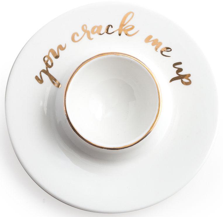 """Все предметы коллекции сделаны из настоящего фарфора, украшенного золотом.  Для каждой вещи создана индивидуальная подарочная коробка. Надпись """"You Crack Me Up"""" - Дизайн разработан в США. Изготовлено в Китае - Рекомендуется мыть руками - Не использовать в микроволновой печи"""