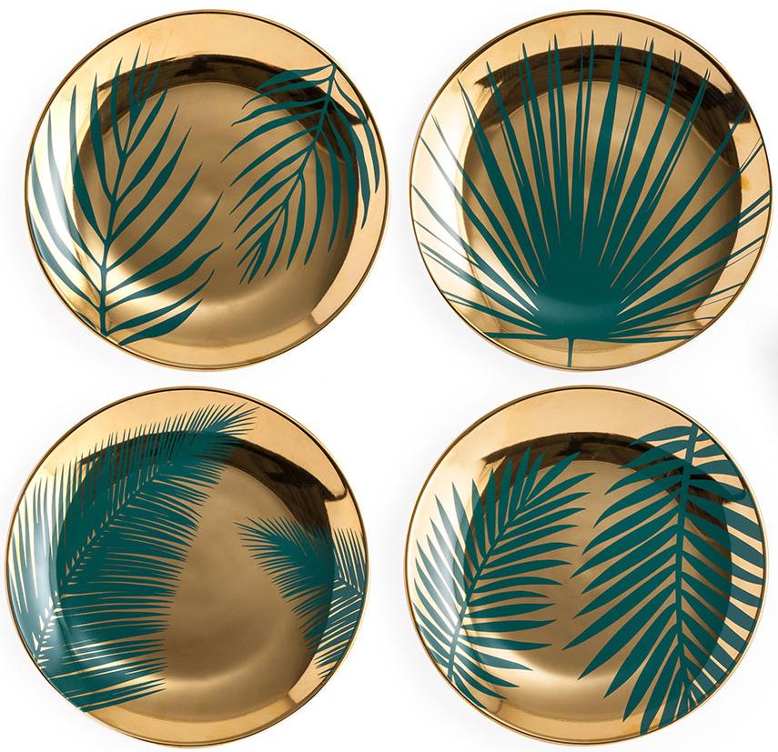 """Набор тарелок Rosanna """"Gold"""" состоит из четырех изумительных тарелок с уникальным дизайном тропических листьев. Набор прекрасно подойдет на подарок ценителю подобных изделий, он будет радовать хозяйку своим видом долгие годы!"""