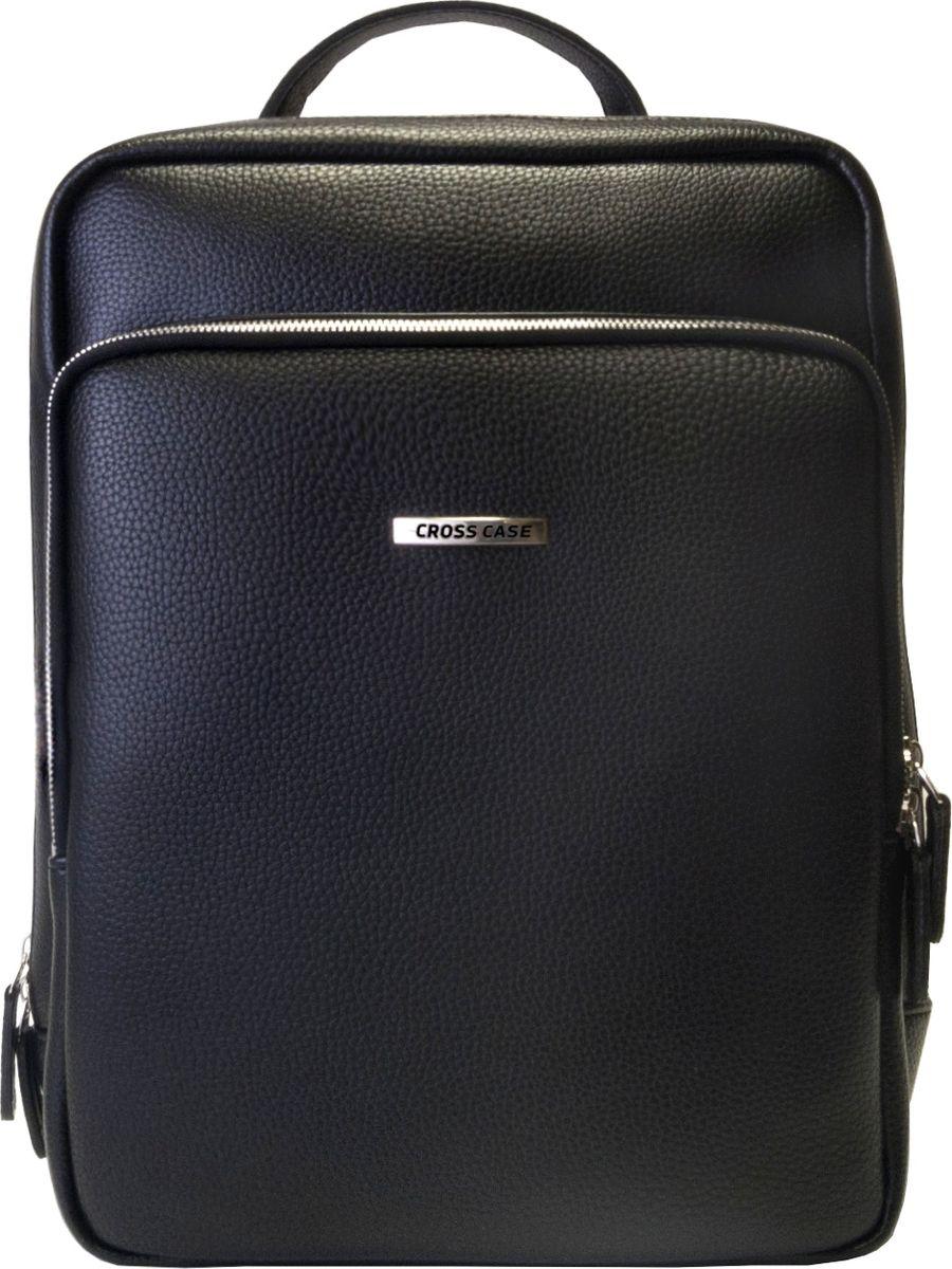 Рюкзак мужской Cross Case, цвет: черный. MB-3055MB-3055 BlackСтильный красивый рюкзак с хромированным шильдом бренда Cross Case. Рюкзак имеет одно внутреннее отделение размером 34,5х25х9,5 см, внутренний карман на молнии 15х15 см, внутренний объемный открытый карман 24х21 см, внутренний карман на молний 23х17 см, наружный объемный карман на молнии 24х27 см, наружный вертикальный карман на молнии 19х16 см. Регулируемые наплечные лямки, ручка для переноски высотой 7 см.