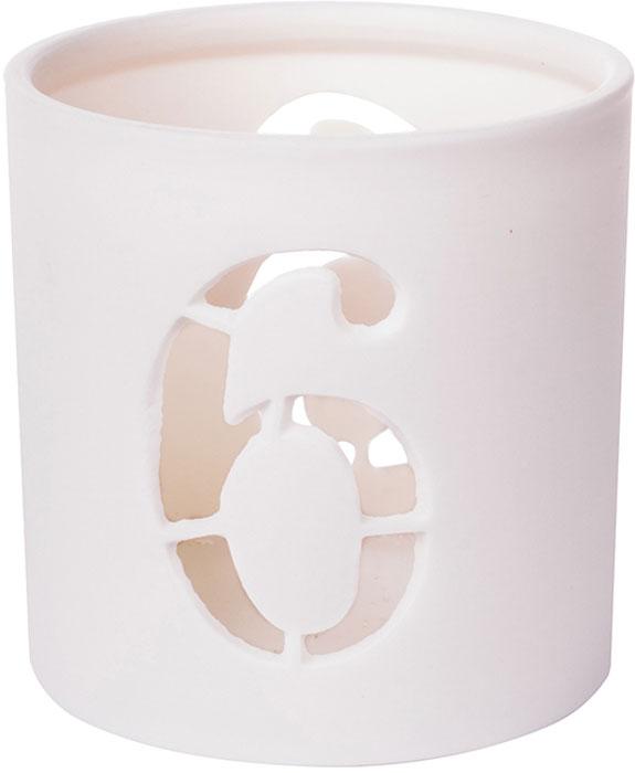 Подсвечник Цифра 6, цвет: белый, 7 х 6,5 см