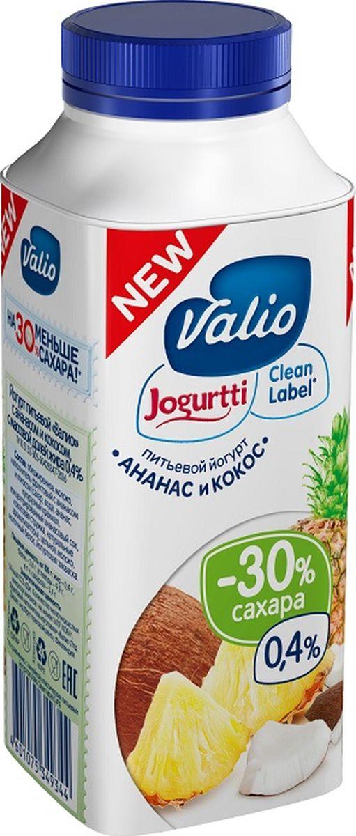 Valio Йогурт с Ананасом и Кокосом 0,4%, 330 г valio молоко 2 5