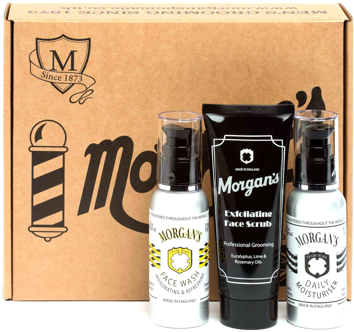 Morgan's Подарочный набор для ухода за лицом: Гель для умывания лица, 100 мл + Скраб для лица, 100 мл + Увлажняющий крем для лица после бритья, 100 мл tom ford for men скраб для лица мужской for men скраб для лица мужской