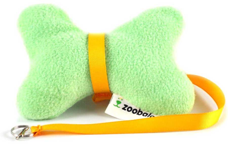 Игрушка для собак Zoobaloo Косточка с поводком, цвет: ментоловый, длина косточки 15 см игрушка для кошек zoobaloo погремушка меховик длина 1 м