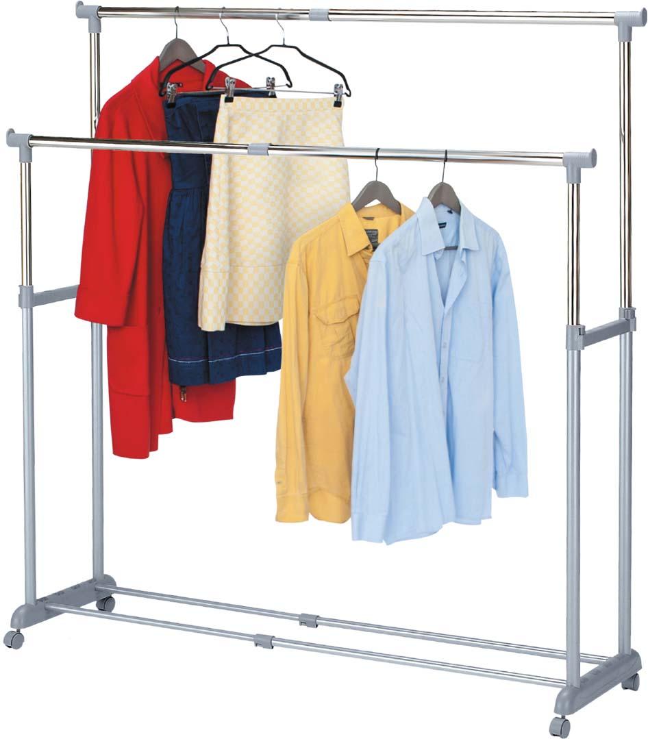 Стойка для одежды Tatkraft Big Party, с регулируемой шириной, двойная, цвет: серый стойка для одежды и обуви tatkraft saturn 3 уровня на колесах с регулируемой шириной и высотой 84 121 5 x 42 5 x 113 198 см