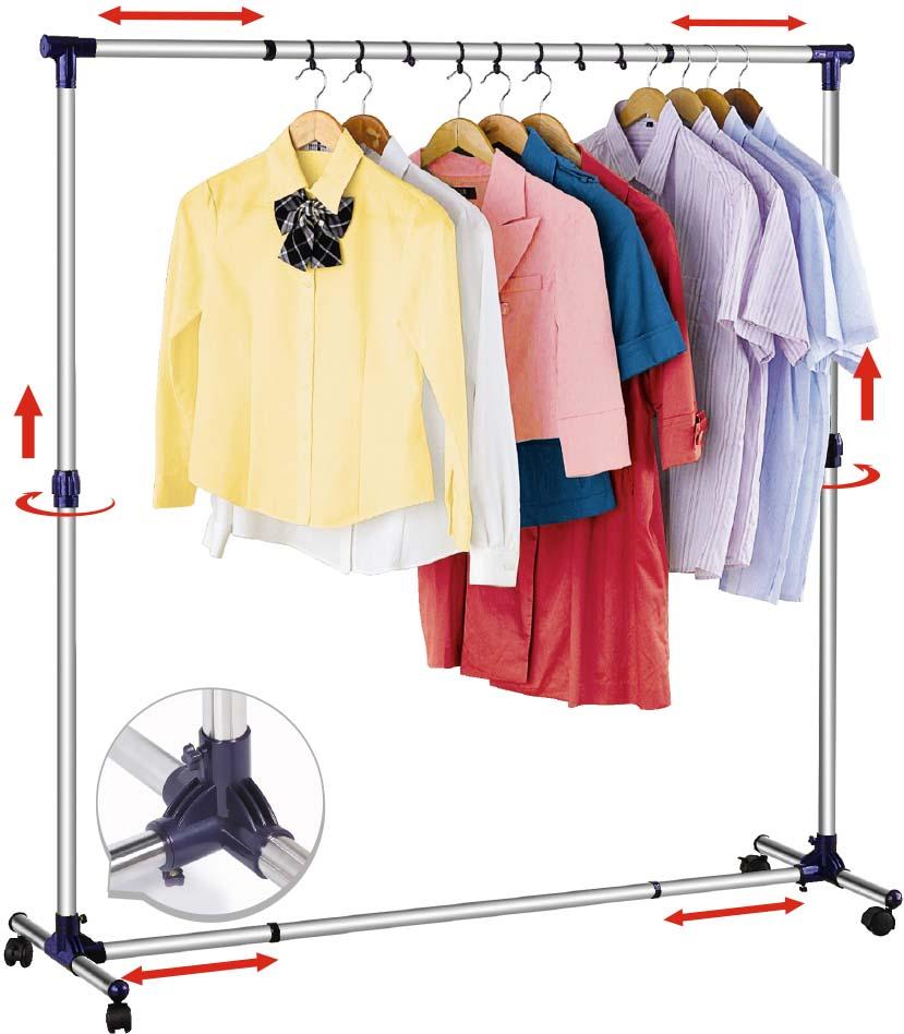 Стойка для одежды Tatkraft New York,  регулируемой шириной  высотой, цвет: черный, хром