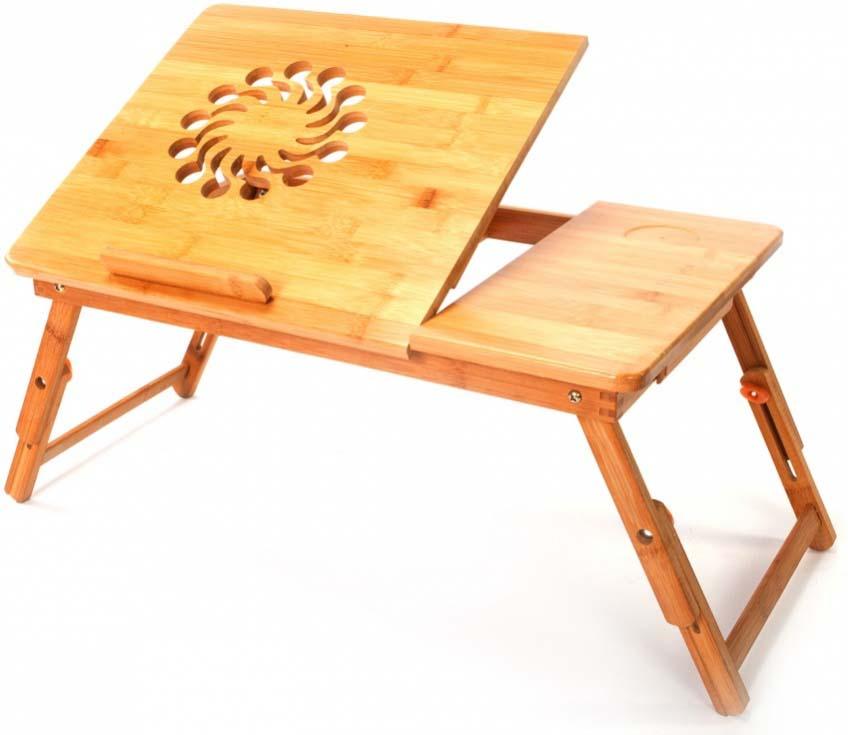 """Столик-трансформер """"Bradex""""  подойдет для ноутбука, планшета и завтрака в постели – удобный и многофункциональный предмет интерьера. Преимущества: Столик выполнен из экологически чистого и прочного материала (бамбук). Сдержанный дизайн столика позволит ему легко вписаться в любой интерьер.  Телескопические ножки позволяют регулировать высоту столика (17 – 25,5 см.).  Регулируемую часть столешницы можно легко установить под необходимым для вашей комфортной работы наклоном. Столик позволяет работать в положении лёжа, благодаря чему вы снизите нагрузку на мышцы спины и шеи. Наличие на фиксированной части столешницы специального углубления позволяет разместить на ней стакан или кружку, а в маленьком боковом ящичке можно хранить провода и другие полезные мелочи. Специальные отверстия на регулируемой части столешницы позволяют осуществлять вентиляцию и отвод тёплого воздуха от ноутбука/планшета.  Столик - трансформер станет отличным подарком для родных, друзей и коллег. Размер: 55 х 35 х 5,5 см.  Вес: 2,9 кг."""