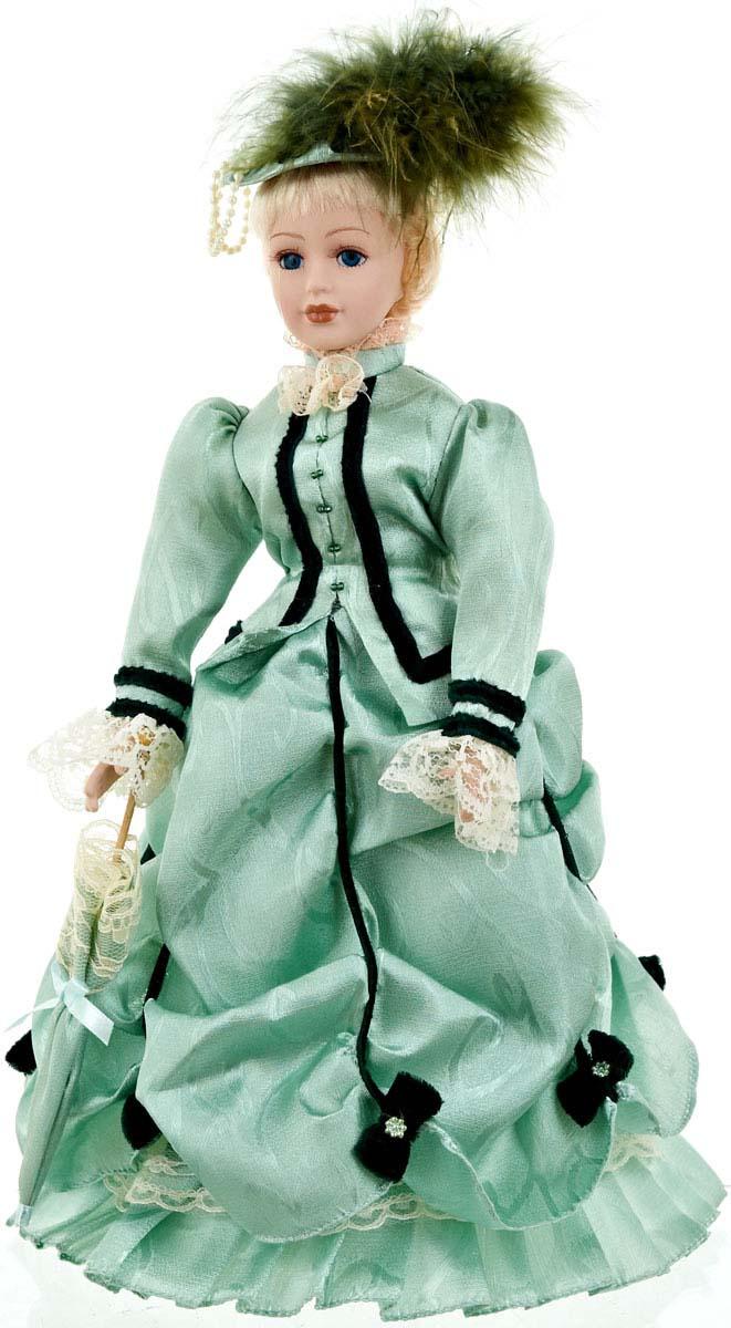"""Великолепная кукла """"Александра"""", выполненная из фарфора, займет достойное место в вашей коллекции. Кукла максимально приближена к живому прототипу - юной леди с румянцем на щеках.Туловище куклы мягконабивное. Наряжена кукла в шикарное платье, выполненное из атласа, кружева и органзы.Для более удобного расположения куклы в интерьере прилагается удобная подставка."""