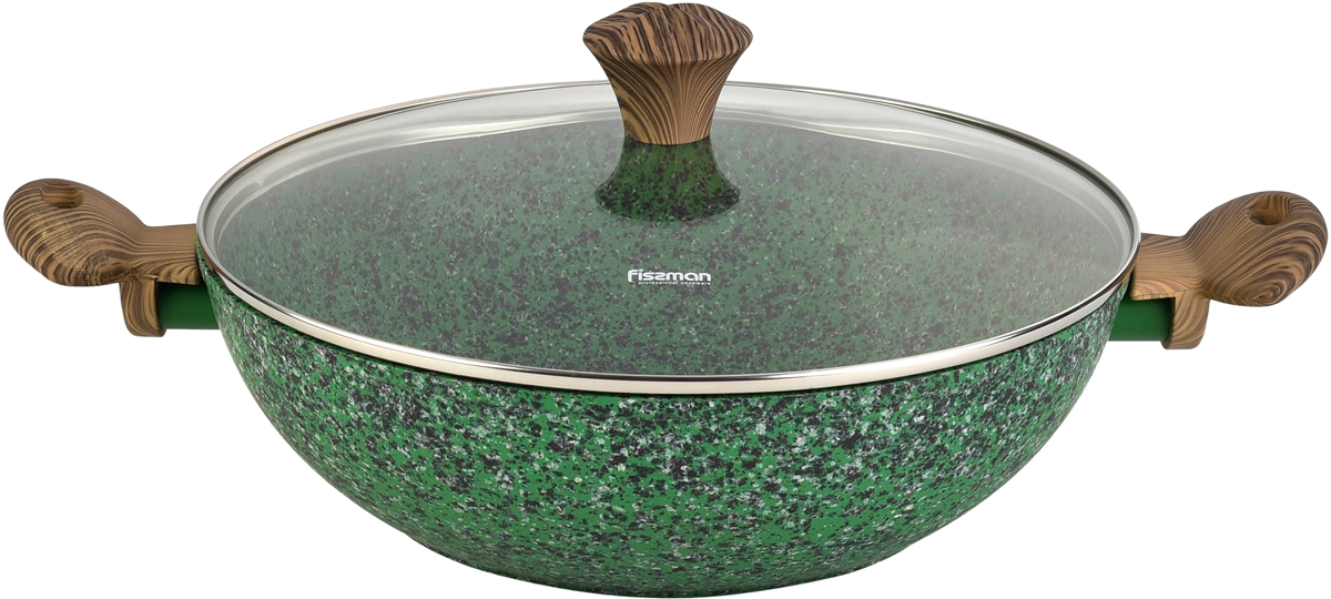 Новая сковорода-вок Malachite от компании FISSMAN изготовлена из литого алюминия с многослойным антипригарным покрытием EcoStone, которое усилено вкраплением каменных частиц.  Главное преимущество покрытия - это устойчивость к царапинам и износу.  Также покрытие безопасно для здоровья человека и окружающей среды.  Утолщенное дно сковороды рационально распределяет тепло, что позволяет продуктам готовиться быстро и равномерно.  Приятные на ощупь ручки из бакелита не нагреваются и не скользят в руках.  Посуда серии Malachite - это уникальный дизайн и не превзойденное качество.