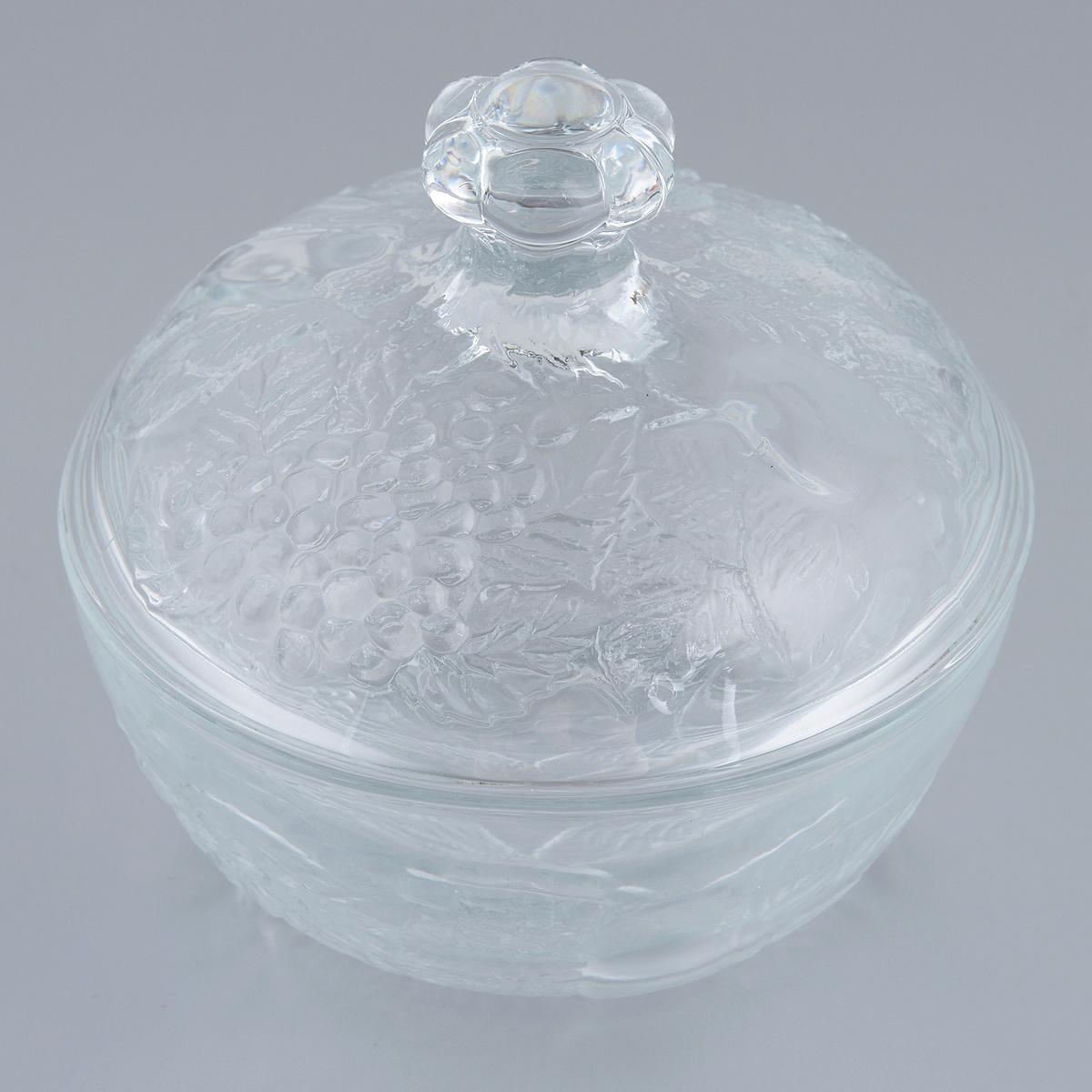 """Элегантная сахарница Pasabahce """"Piknik"""" изготовлена из прочного кальций-натрий-силикатного  стекла. Сахарница оснащена крышкой. Изделие имеет рельефную форму.  Сахарница придется по вкусу и ценителям классики, и тем, кто предпочитает утонченность и  изящность.  Можно использовать в морозильной камере и микроволновой печи. Можно мыть в посудомоечной  машине.  Диаметр (по верхнему краю): 13 см.  Высота (без учета крышки): 5,5 см.  Объем: 300 мл."""