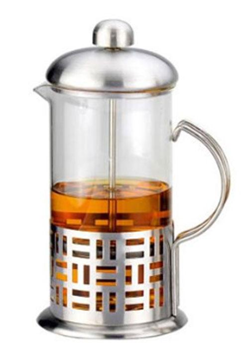 """Френч-пресс """"Rainstahl"""" позволит быстро приготовить ароматный кофе или  заварить чай. Корпус, фильтр-пресс и крышка выполнены из  высококачественной нержавеющей стали, прозрачная колба изготовлена из  жаропрочного стекла. Стенки корпуса дополнены перфорацией."""