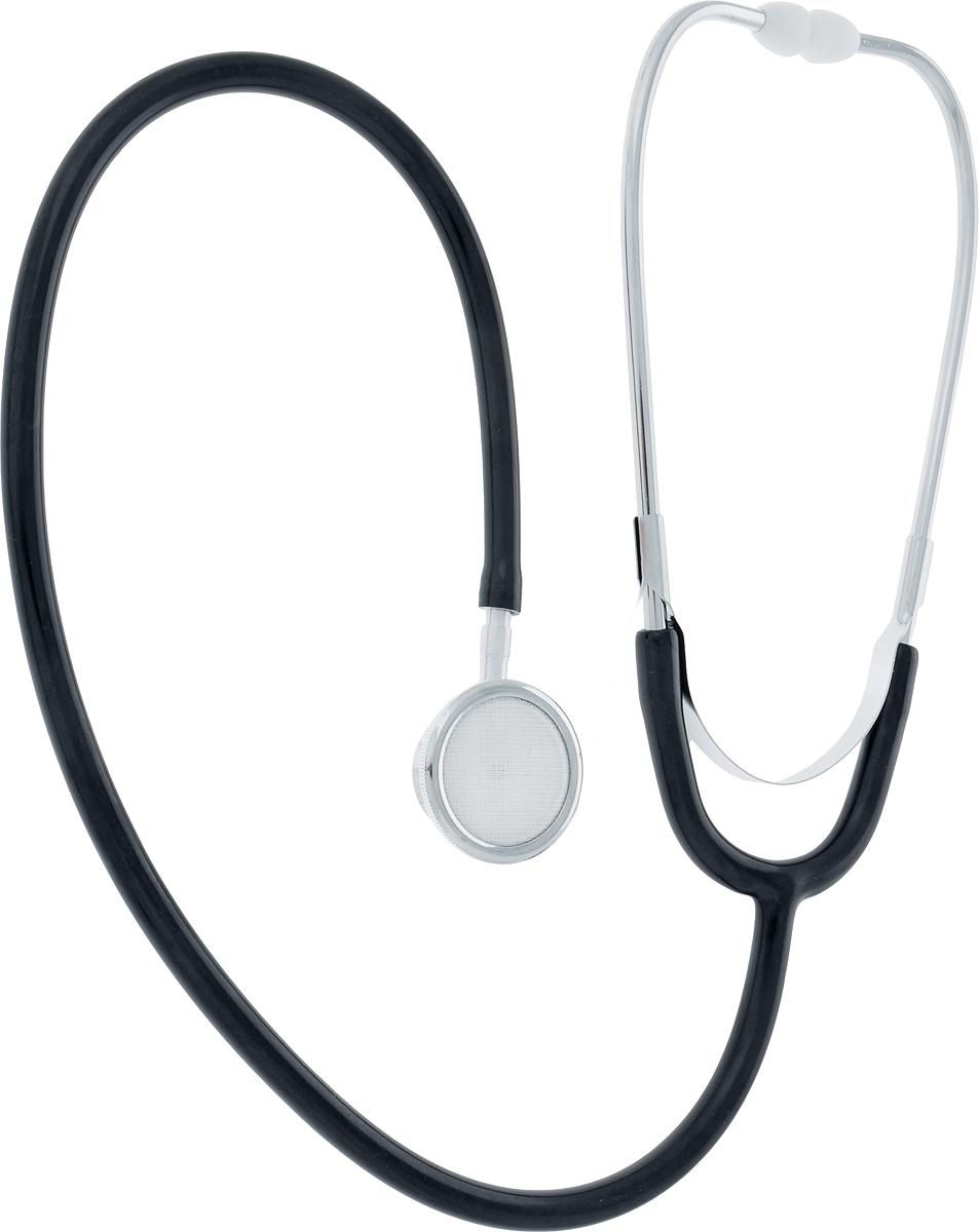 Фото Amrus Стетоскоп медицинский двухсторонний педиатрический Диаметр мембраны 35 мм, диаметр воронки 25 мм, цвет: черный. 04-AM507