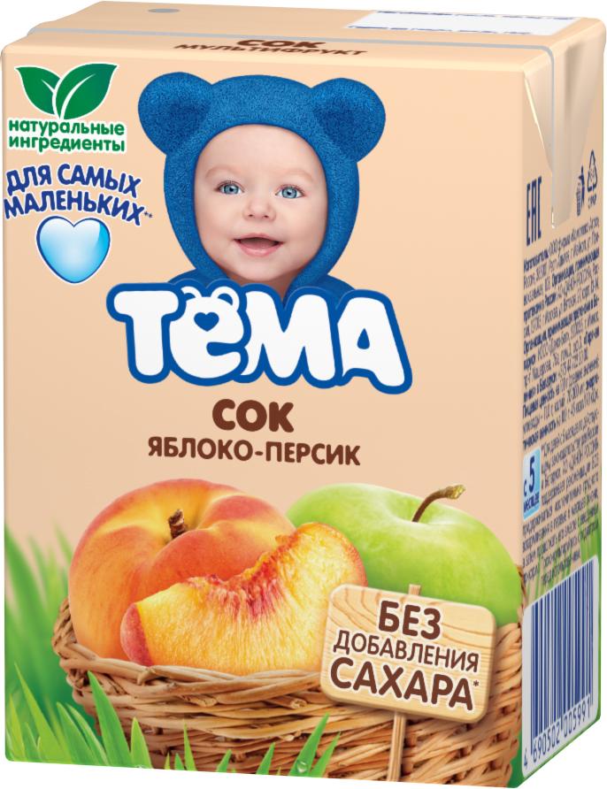 Тема Сок яблочно-персиковый, 200 мл молоко тёма обогащенное 3 2