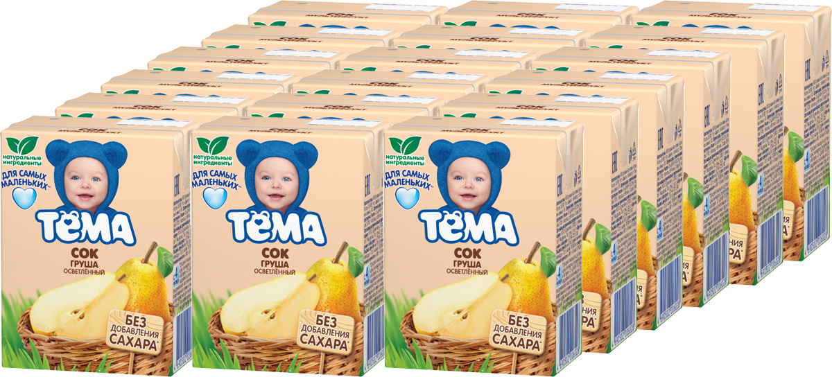 Тема Сок грушевый осветленный, 18 шт по 200 мл агуша сок детский осветленный без сахара яблоко вишня 200 мл