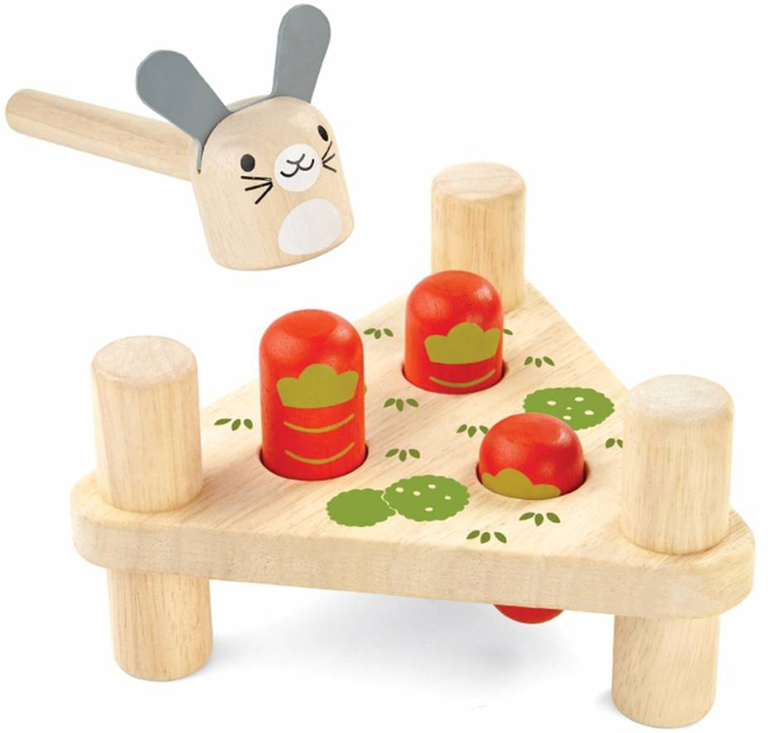 Plan Toys Забивалка Зайчик и морковки пирамидка трио plan toys