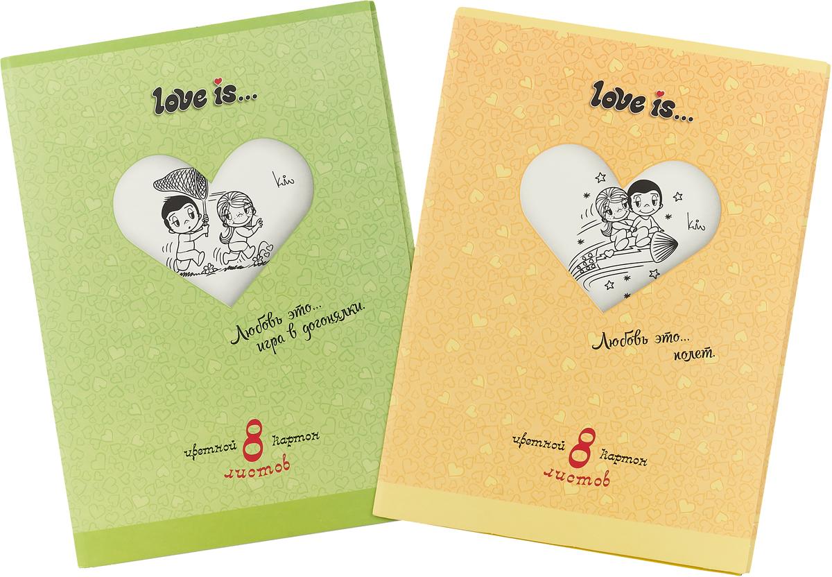 Action! Набор цветного картона Love is… 8 листов цвет папки желтый зеленый 2 шт набор цветного картона action strawberry shortcake a4 10 листов sw cc 10 10 в ассортименте