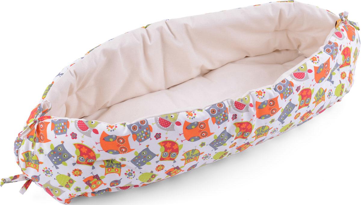 HoneyMammy Кокон для новорожденного для совместного сна Orange Owls