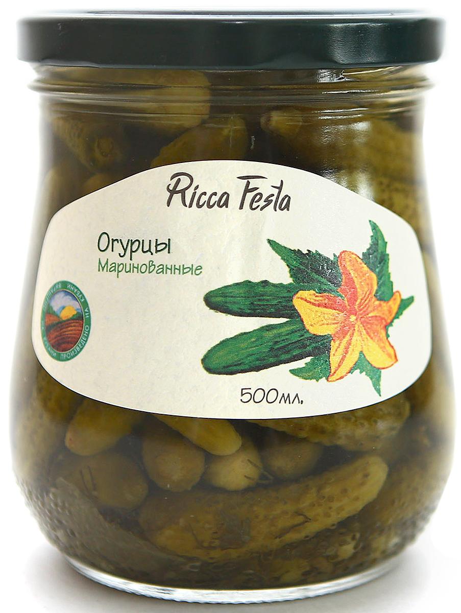 Ricca Festa Огурцы корнишоны маринованные ГОСТ 1-4 см, 500 мл lorado огурцы маринованные 4 25 кг