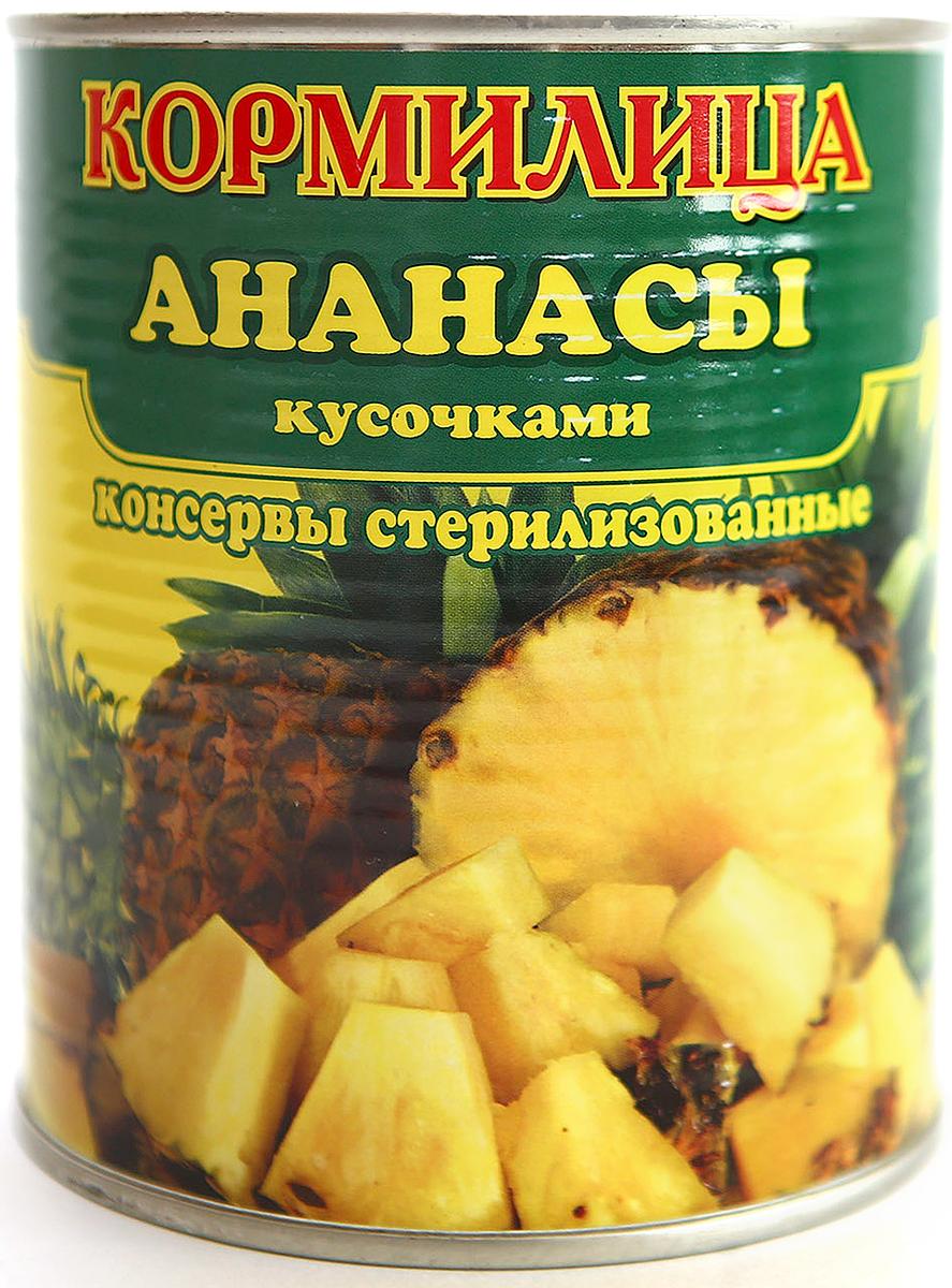 Кормилица Ананасы кусочки консервированные, 850 мл lorado персики половинки в легком сиропе 850 мл