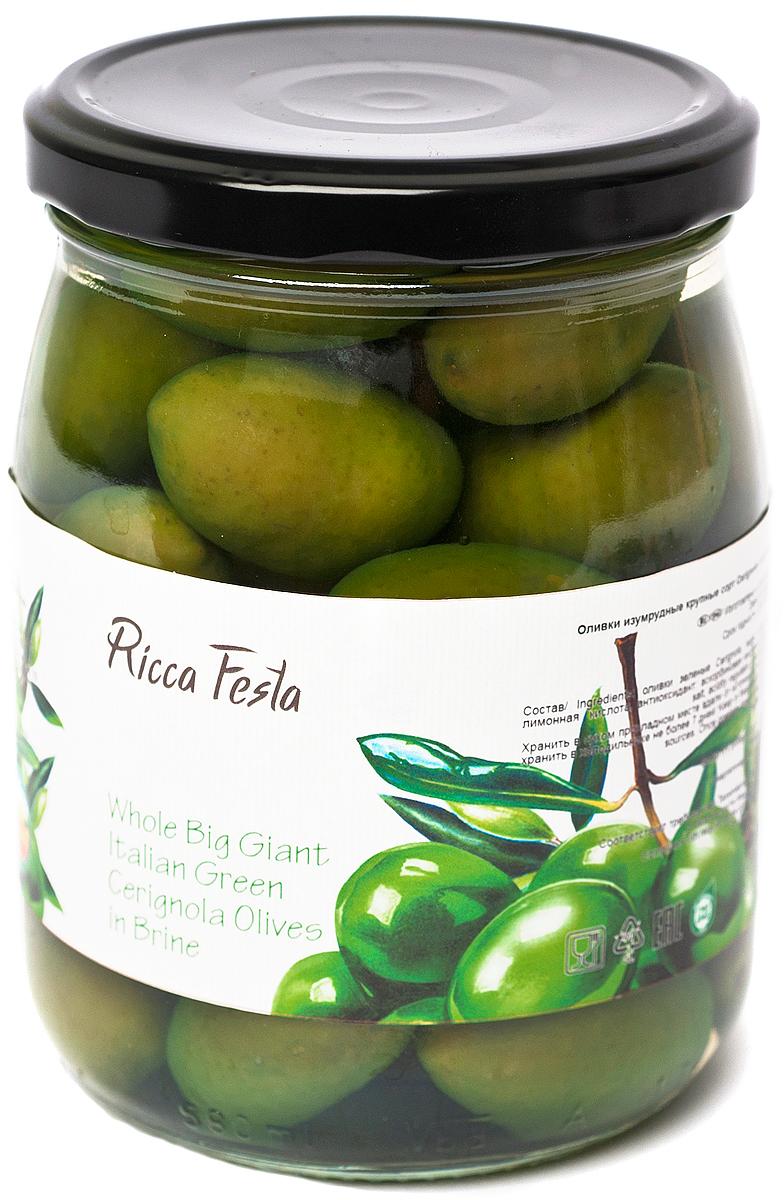 Ricca Festa Оливки изумрудные крупные с косточкой, 580 мл guerola оливки изумрудные кампо реаль с косточкой 770 г