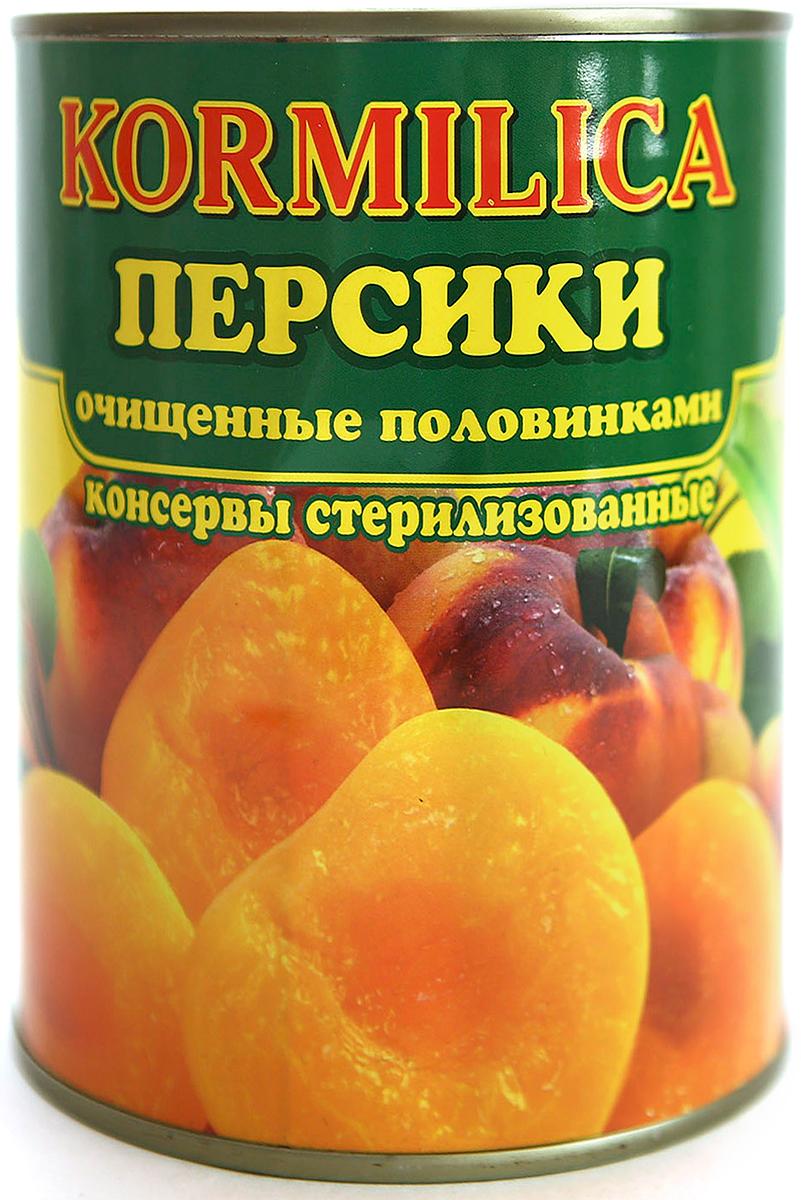 Кормилица Персики консервированные половинками в сиропе, 850 мл