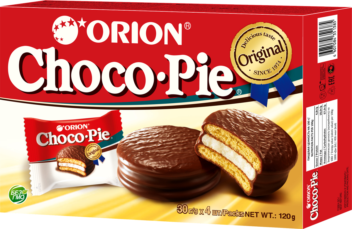 Orion ChocoPie пироженое, 120 г печенье orion choco boy 100г
