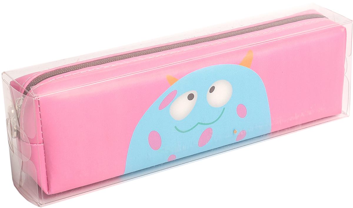 Calligrata Пенал школьный Монстры цвет розовый 2879303 пенал школьный мишка силикон 43816