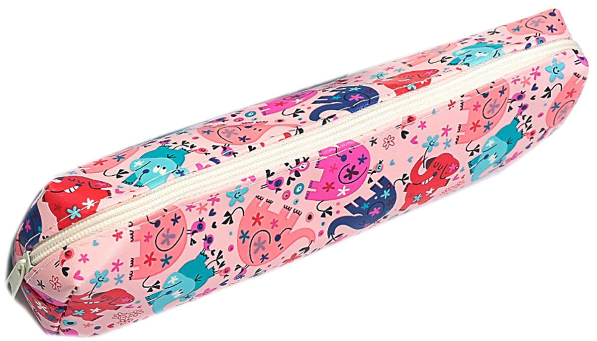 Calligrata Пенал школьный Слоники цвет розовый 2879240 пенал школьный мишка силикон 43816