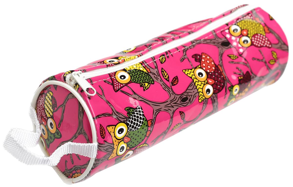 Calligrata Пенал школьный Совы цвет розовый 2879262