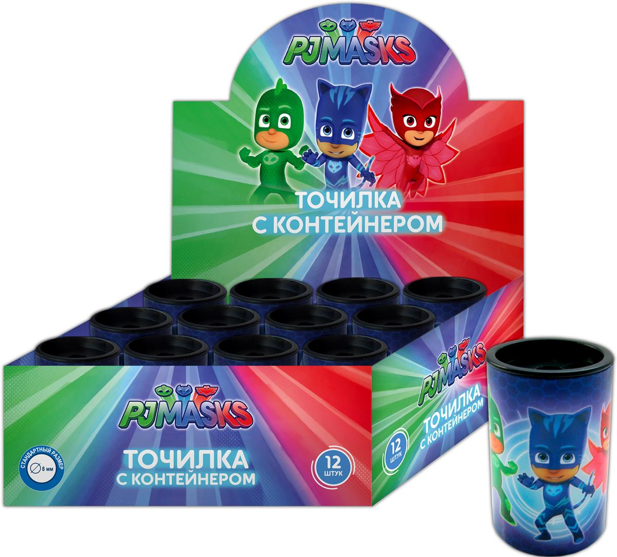 PJ Masks Точилка с контейнером цвет синий 34081 pj masks набор толстых восковых карандашей герои в масках 8 цветов 34062