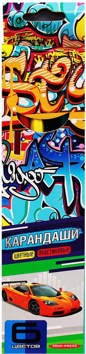 Prof Press Набор цветных карандашей 6 цветов КЦ-2515КЦ-2515Набор цветных карандашей отлично подходит для ежедневного использования маленькими художниками! В наборе карандаши 6 ярких цветов. Цветные карандаши изготовлены без использования древесины. Цветной стержень обеспечивает отличную степень закрашивания.