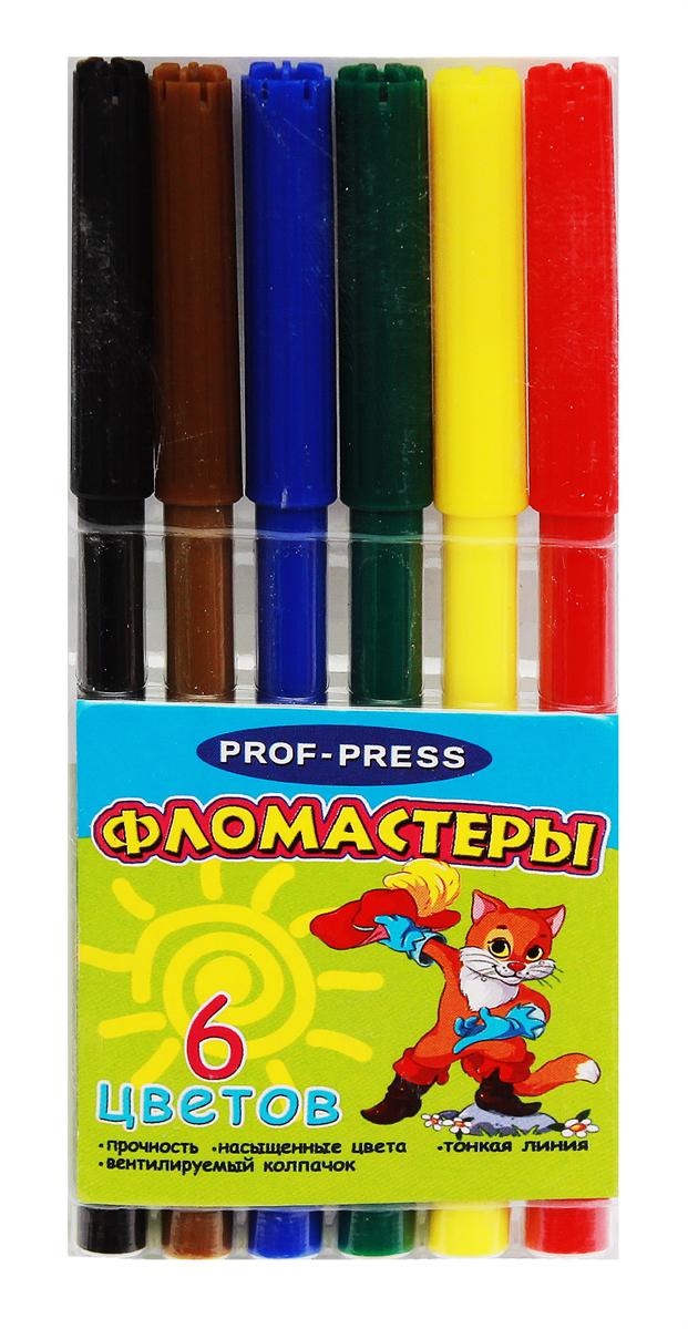 Prof Press Набор фломастеров с вентилируемым колпачком Кот в сапогах 6 цветов prof press набор цветных карандашей 6 цветов кц 2515