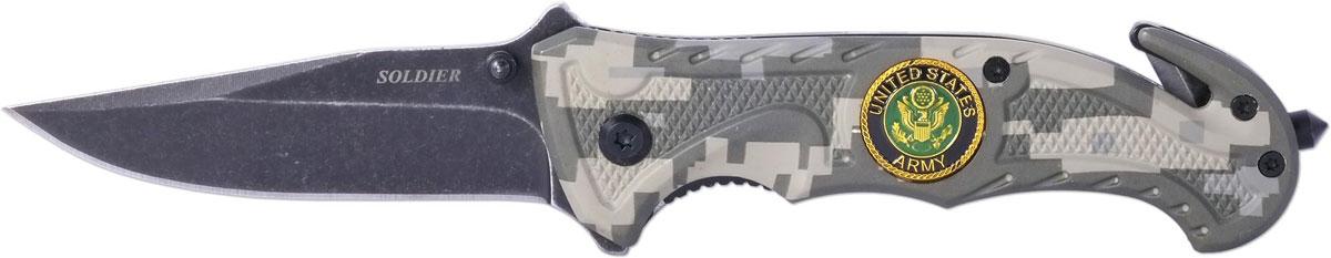 Нож автоматический Ножемир Четкий расклад. Soldier, цвет: серый, длина лезвия 7,3 см