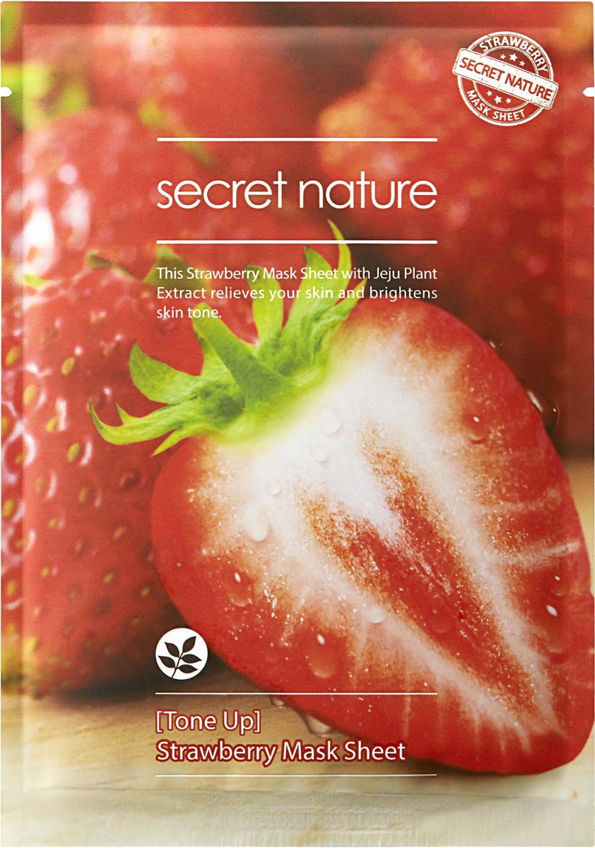 Secret Nature Tone Up Strawberry Mask Sheet Тонизирующая маска для лица с клубникой, 25 мл kocostar маска слайс для лица клубника slice mask sheet strawberry 20 мл