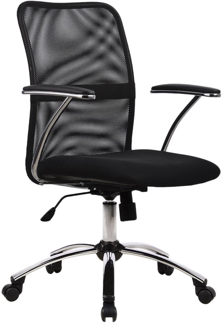 Комфортное эргономичное кресло. Модель имеет цельный стальной каркас, спинку с поясничной поддержкой, сиденье из сетчатой ткани повышенной износостойкости, обеспечивающее свободную циркуляцию воздуха, бесшумный механизм качания на шарикоподшипниках.Материал обивки: ткань, сеткаЦвет обивки: черныйМаксимальная нагрузка: до 120 кгМеханизм качания: даТип механизма: топ-ган качание с регулировкой под вес и фиксацией в 1 положении Сетка в спинке : даКрестовина (пятилучие): хромированный металлПодлокотники: хром с накладками, хромМинимальная высота кресла: 930 ммМаксимальная высота кресла: 1030 ммШирина кресла: 610 ммМинимальная высота до сиденья: 440 ммМаксимальная высота до сиденья: 540 ммСиденье ширина: 460 ммСиденье глубина: 460 ммСпинка ширина: 440 ммСпинка высота: 490 ммТребует сборки: да