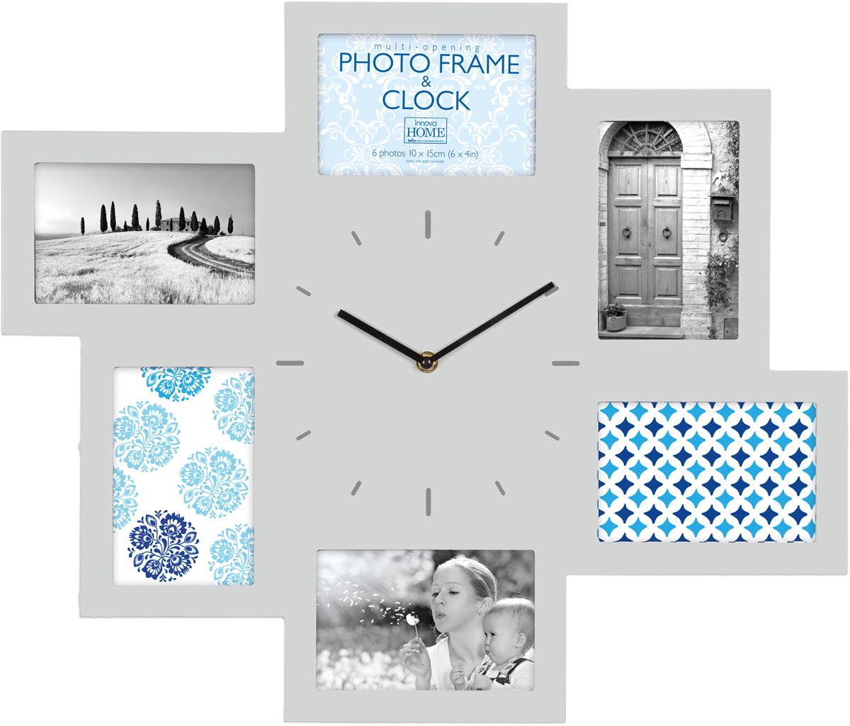 Часы-мультирамка Innova W07369, на 6 фото 10х15, цвет: серый, 46 x 54 см мультирамка мультисердце 7 фото белая