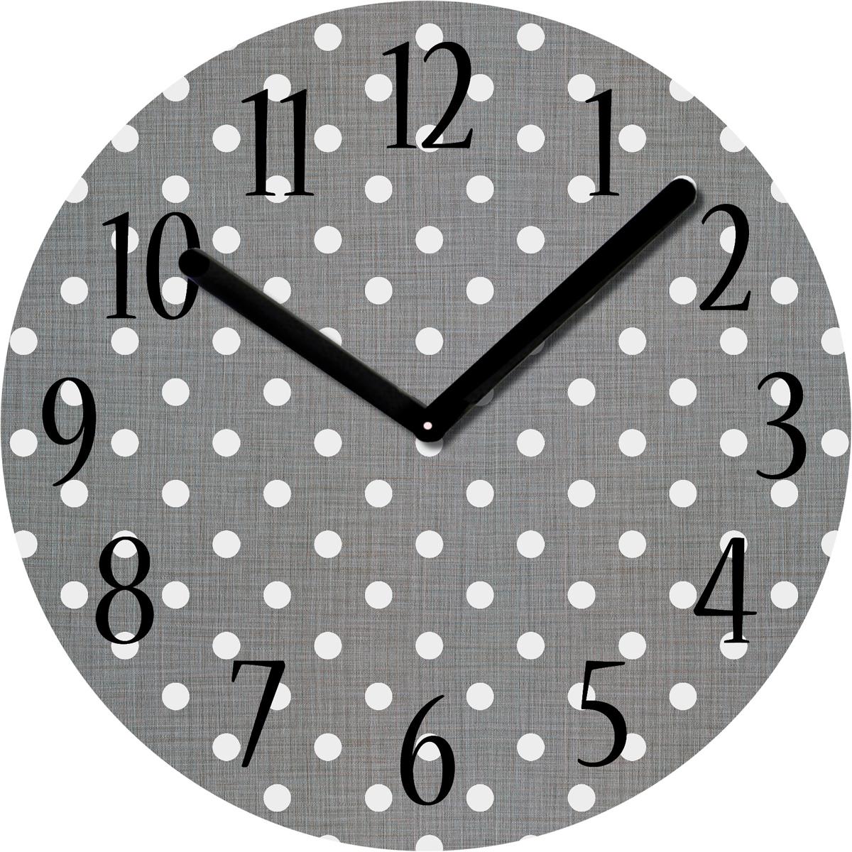 """Часы настенные Innova """"Точки"""" красиво дополнят интерьер вашего дома. Круглый корпус изготовлен из стекла с оригинальным принтом в горошек. Часы имеют кварцевый механизм с плавным ходом, индикацию цифрами и две стрелки - часовую и минутную. Батарейки в комплект не входят."""