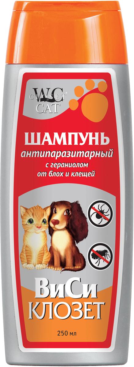 Шампунь для кошек и собак ВиСи Клозет, для отпугивания насекомых и паразитов, с гераниолом, 250 мл шампуни для животных gamma шампунь для гладкошерстных кошек 250мл