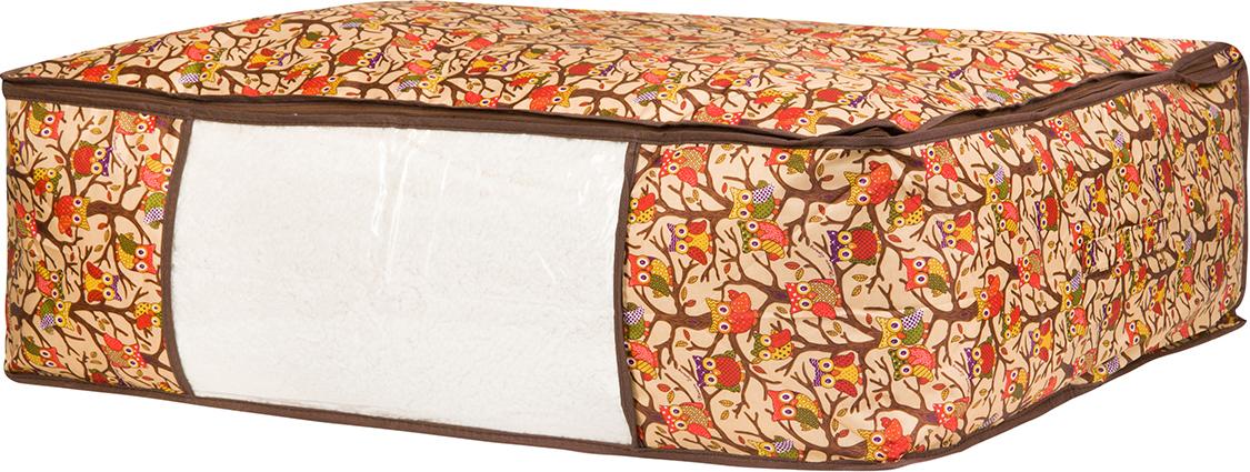 Кофр для хранения одеял и пледов El Casa Совы на ветках, цвет: бежевый, 80 х 60 х 25 см кофр для хранения одеял и пледов el casa звезды цвет розовый 80 х 60 х 25 см
