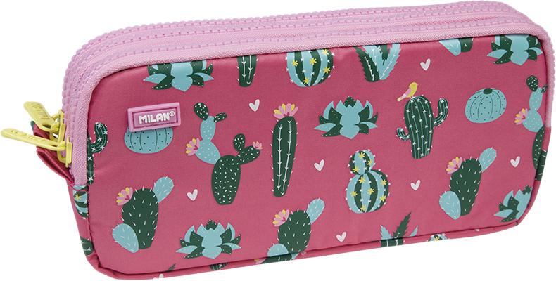 Milan Пенал-косметичка Cactus цвет розовый зеленый 3 отделения