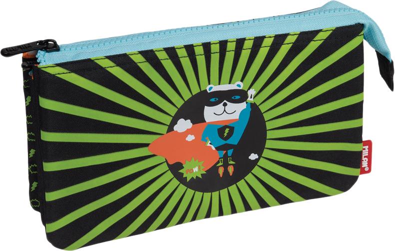 Milan Пенал-косметичка Super Heroes цвет черный светло-зеленый пенал milan super heroes green 081133shk 259004