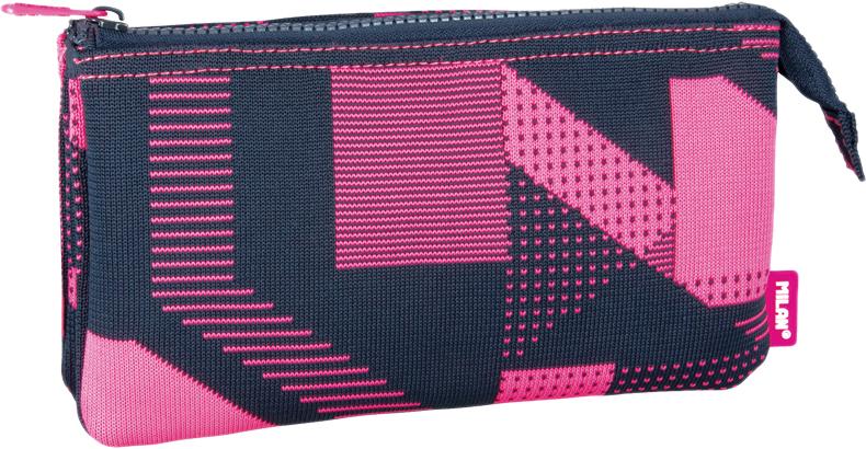 Milan Пенал-косметичка Knit цвет черный розовый 3 отделения -  Пеналы